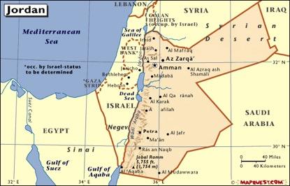 阿拉伯半岛西北的约旦地形酷似一把斧头,斧刃在西,斧柄在东,唯一的